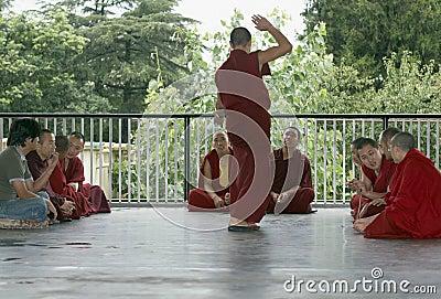 Tibetan Monks Debating at Namgyal Monastery Editorial Photography