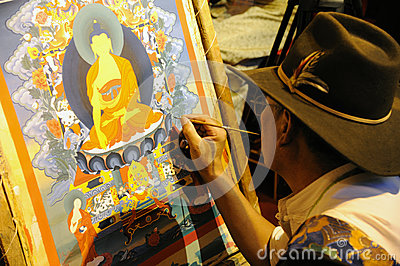 Tibetan painting tangka Editorial Stock Image