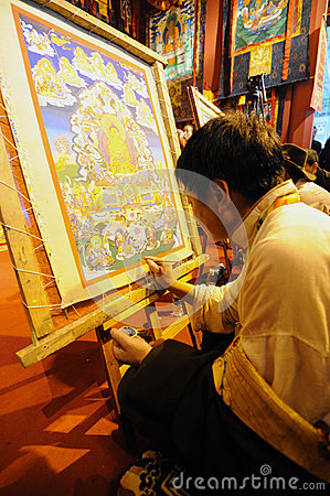 Tibetan painting tangka Editorial Stock Photo