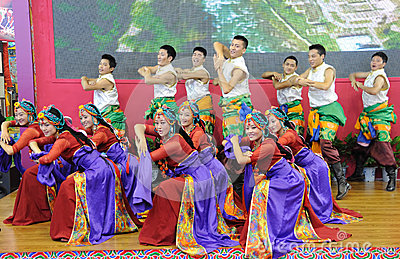 Tibetan people dancing Editorial Image