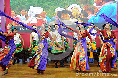 Tibetan people dancing Editorial Stock Image