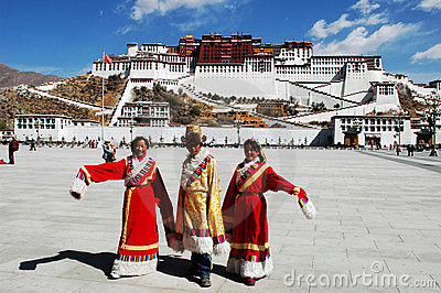 Tibetan people at Potala Palace Editorial Stock Photo
