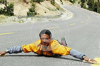 Tibetan pilgrim Editorial Photo