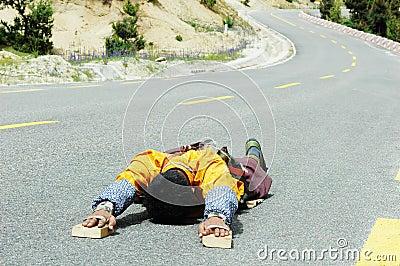 Tibetan pilgrim Editorial Stock Photo