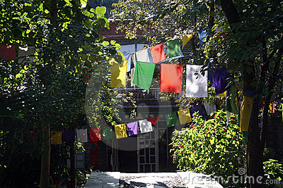 Tibetan Prayer Flags in Buddhist Monastary