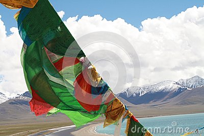 Tibetan Prayer Flags in front of Namtso Lake