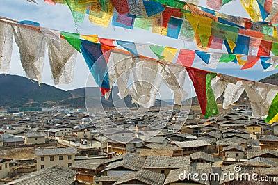 Tibetan prayer flags over shangri-la, china
