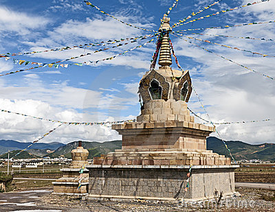 Tibetan Prayer Flags on a Stupa