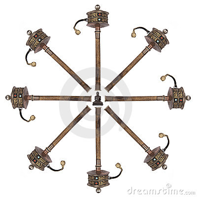 Tibetan Prayer Wheels - Isolated