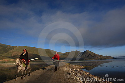 Tibetan riders Editorial Stock Photo