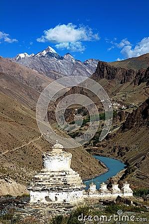 Tibetan stupas in Ladakh