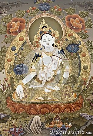 Free Tibetan Tangka White Tara Goddes Royalty Free Stock Image - 22003666