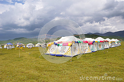 Tibetan tent with cloudy