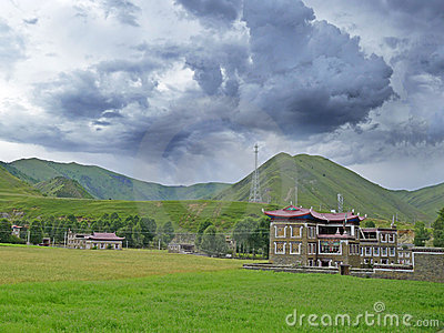 Tibetan  village   with cloudy