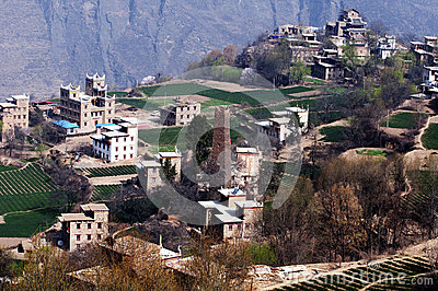 Tibetan village in early spring