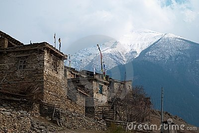 Tibetan village in Himalayan mountain.
