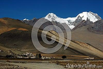 The tibetan village and snow mountains