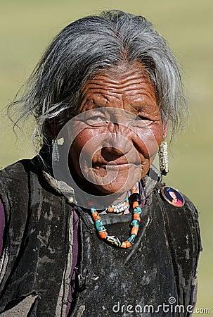 Tibetan woman portrait Editorial Stock Photo