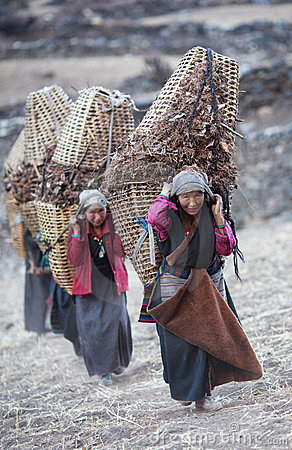 Tibetan womans with basket Editorial Stock Image