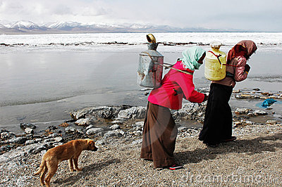 Tibetan women fetching water Editorial Stock Image