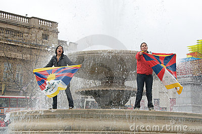 Tibetan Women Protesting Editorial Photography