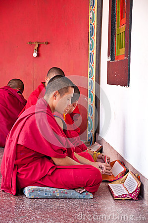 Tibetian lama is prayingat Ramtek Monastery Editorial Photography