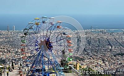 Tibidabo Amusement Park - Barcelona, Spain Editorial Photography