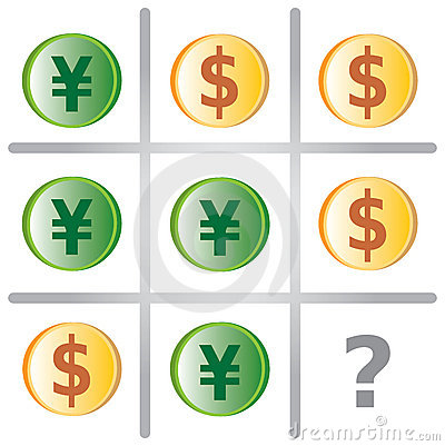Tic Tac Toe Game with Dollars and Yen