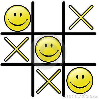 Tic Tac Toe Game & Winning Smiley Happy Face Vector Illustration