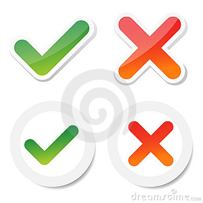 Free Tick And Cross Sticker Stock Image - 22987371