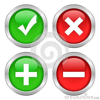Tick cross button