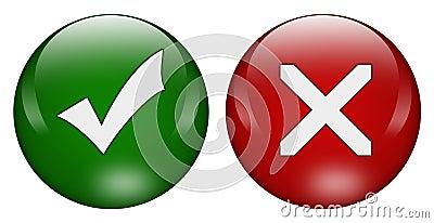 Tick cross buttons