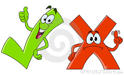 Tick and cross cartoon
