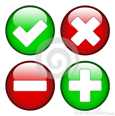 Free Tick Cross Minus Plus Signs Stock Images - 40386834