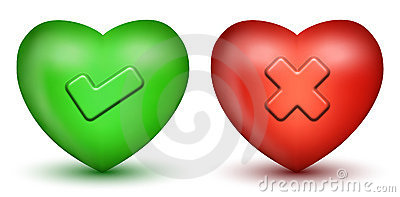 Tick & Cross Sign Hearts