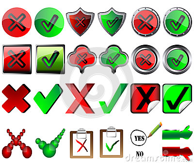 Tick and cross signs right and wrong button signs