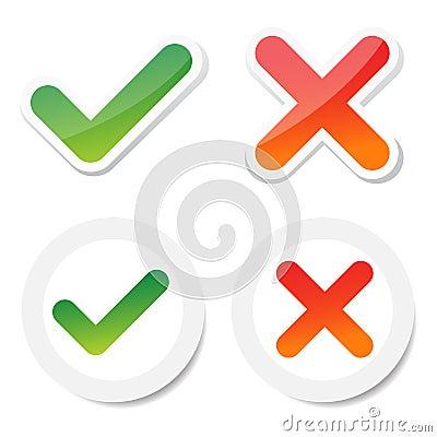Tick and cross sticker