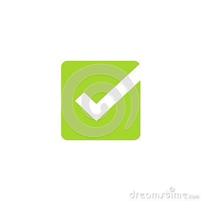 Tick icon vector symbol, green square checkmark isolated on white background, checked icon or correct choice sign, check Vector Illustration