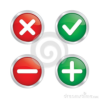 Tick mark and cross button