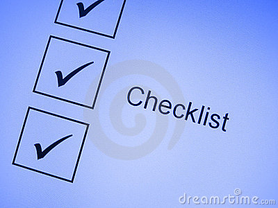 Tick marks on checklist