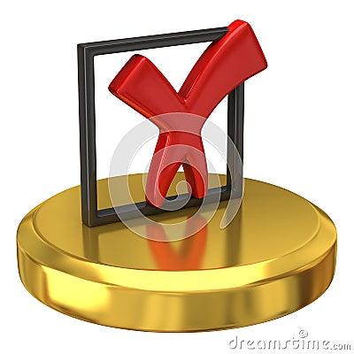 Tick sign on gold podium