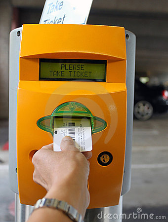 Ticket dispenser parking structure