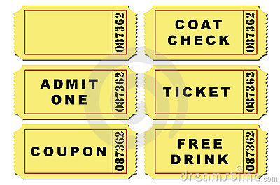 Ticket illustration set stock photography image 9615572 for Coat check tickets template