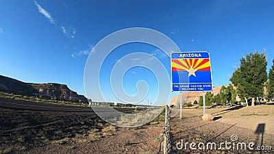 Tid Arizona statlig för välkommet tecken schackningsperiod arkivfilmer