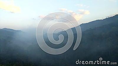 Tid schackningsperiod rörelsen av dimma till och med dalen av Thailand lager videofilmer