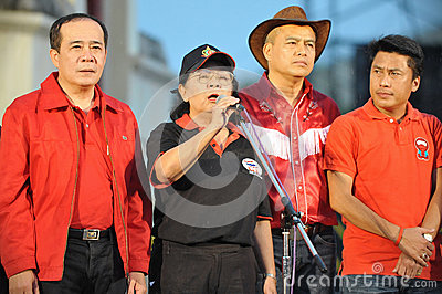 Tida Tawornseth Addresses a Red-Shirt Rally Editorial Stock Photo