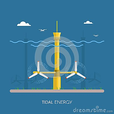 Tidal Power Plant And Factory. Stock Vector - Image: 71445020