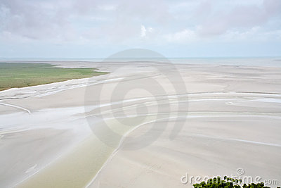 Tidal sea bottom from Mont Saint-Michel