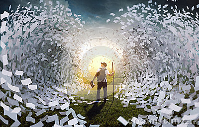 Tidal wave of book pages Stock Photo