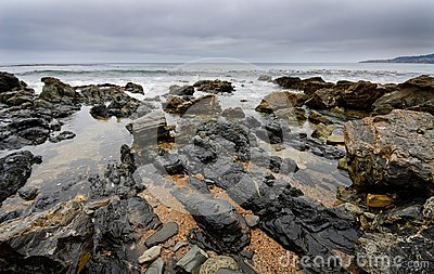 Tide Pools on Beach Shoreline